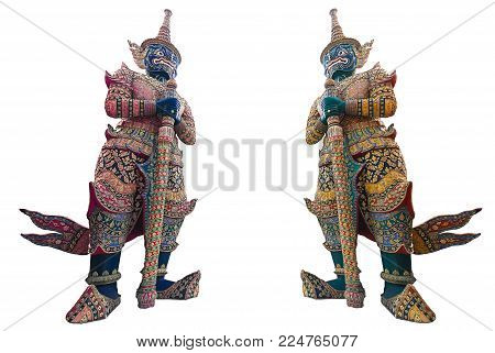 Thai Giant, a guard daemon which stand in front of temple's gate at the grand palace. Solid on white background.
