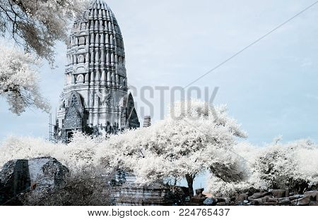 Ayudhaya The Historical Park, World Heritage Of Thailand, Shooting Style With Filter Infrared 72