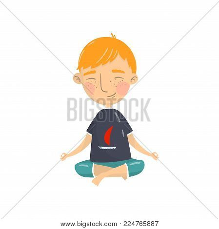 Cute boy sitting in lotus position and meditating, boy practicing yoga cartoon vector Illustration isolated on a white background