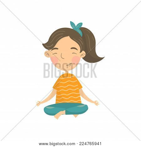 Beautiful girl sitting in lotus position and meditating, teen girl practicing yoga cartoon vector Illustration isolated on a white background