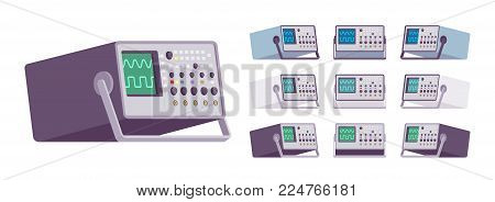 Oscilloscope set. Device to analyze the waveform of signals, tool for testing electronic circuitry, different colors and positions. Vector flat style cartoon illustration isolated on white background