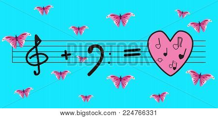 Vector: treble clef plus bass key is equal to love and music. Bright blue background and pink butterflies. Love, music, spring ...