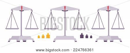 Balance scales with weight and equal pans. Device to measure mass, compare two objects, home and laboratory instrument. Vector flat style cartoon illustration isolated on white background