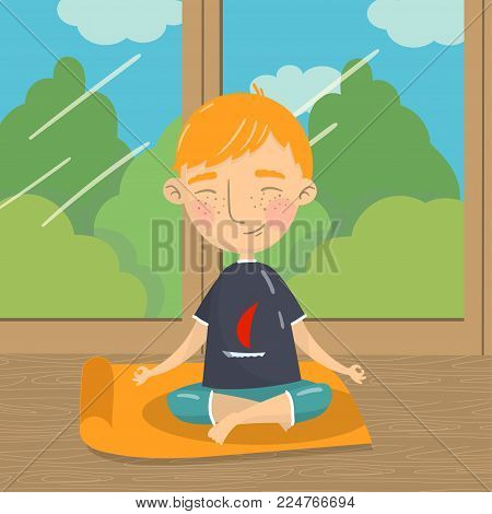 Cute boy sitting in lotus position and meditating, boy practicing yoga on the background of window with summer view colorful vector illustration in cartoon style.