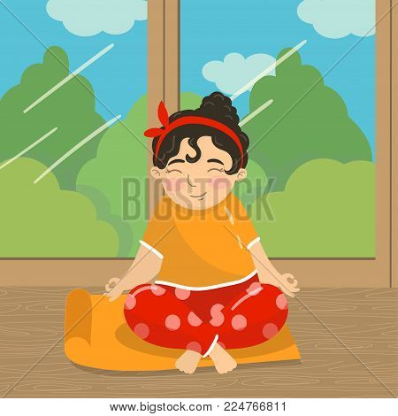Cute beautiful girl sitting in lotus position and meditating, teen girl practicing yoga on the background of window with summer view colorful vector illustration in cartoon style.
