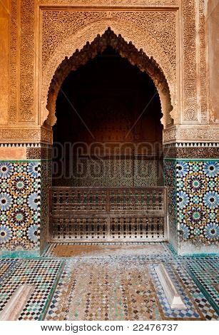 Detail Of An Ornate Stone Alcove Inside A Mosque