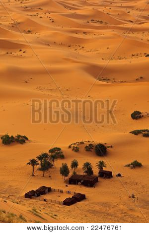 Aerial View Of Sahara And Bedouin Camp, Morocco
