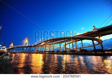 Panorama scene of bhumibol bridge, modern landmark over Chaopraya river, with blue sky twilight.