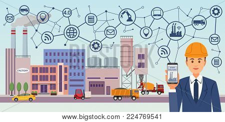 Modern digital factory 4.0. Industry 4.0 concept image. Industrial instruments in the factory with cyber and physical system icons, Internet of things network.