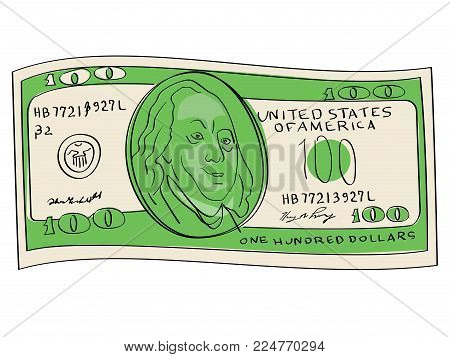 A hundred dollars object on a white background. Business and finance. Paper currency vector illustration. Scientist, publicist and diplomat Benjamin Franklin