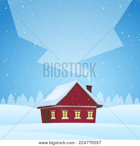 Vector illustration: Red cartoon house on snowy winter background with space for text on smoke from the chimney