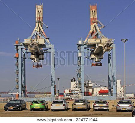 Two Cranes In Port Of Haifa