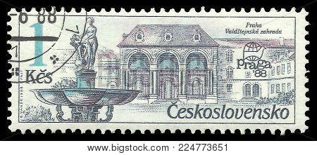 Czechoslovakia - circa 1988: Stamp printed by Czechoslovakia, Color edition on Prague fountains, shows Fountain Valdstejnska zahrada, circa 1988