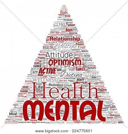 Conceptual mental health or positive thinking triangle arrow word cloud isolated background. Collage of optimism, psychology, mind healthcare, thinking, attitude balance or motivation text