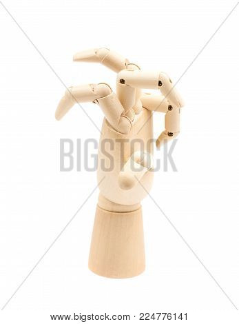 Broken wooden hinge joint model of hand as a drawing reference, composition isolated over the white background