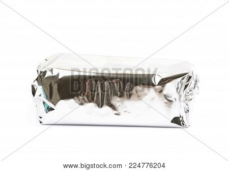 Product packed in a silver foil package isolated over the white background