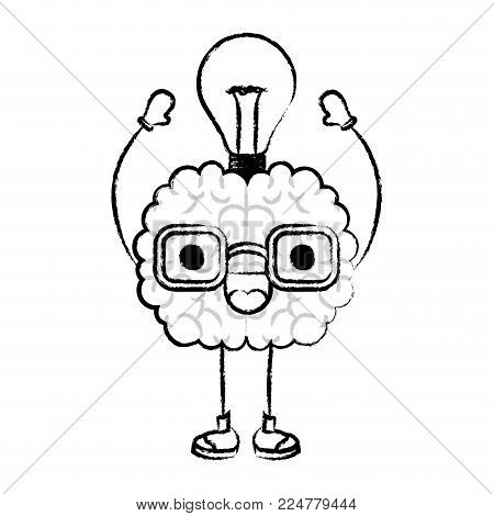 brain character expression light bulb mind intelligence neurology fun cartoon caricature comic graphic vector illustration