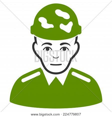 Soldier vector flat icon. Human face has joy expression.