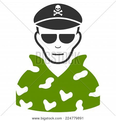 Swat Soldier vector flat pictogram. Person face has cheerful sentiment.