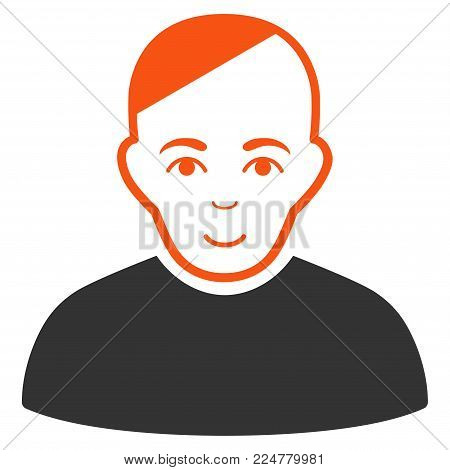 Patient vector flat icon. Human face has joy sentiment.
