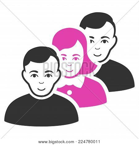 People Queue vector flat pictogram. Human face has cheerful emotion.