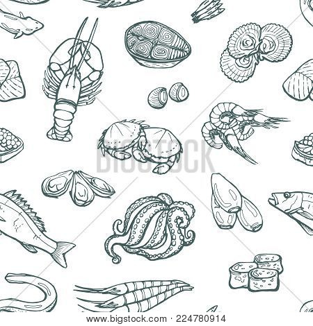 Seamless vector pattern of sea food, delicacies. Lobster, eel, scallops, octopus, isolated sketches on white background