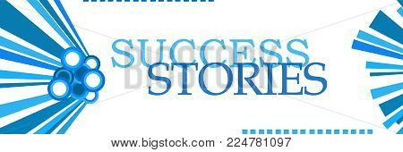 Success stories text written over abstract blue background.