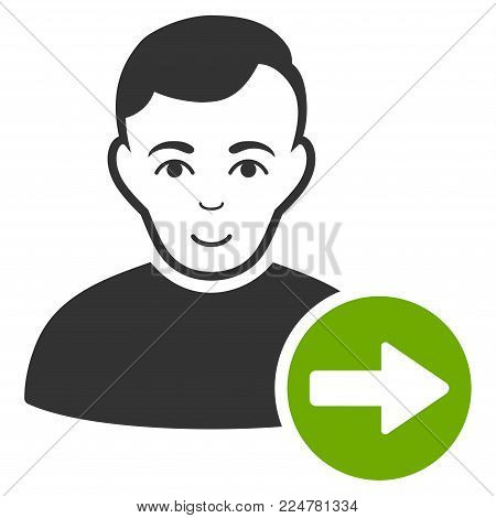 Next User vector flat pictograph. Person face has positive sentiment.