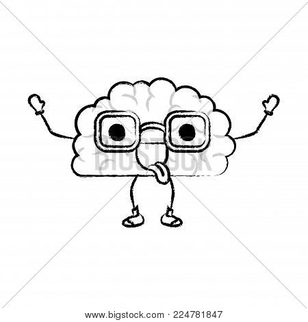 cartoon brain character expression mind intelligence neurology fun caricature comic graphic vector illustration