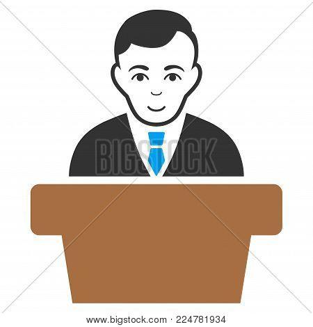 Politician vector flat pictograph. Person face has enjoy emotions.