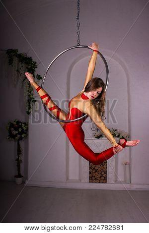 Girl Training On Aerial Ring