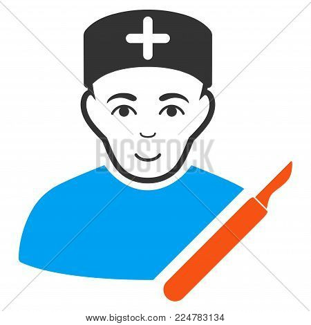 Surgeon vector flat pictograph. Human face has glad emotion.
