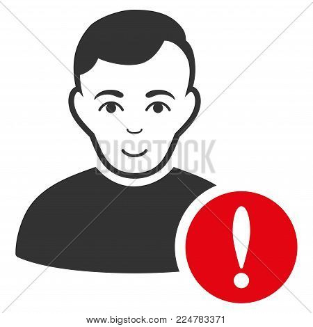 User Danger vector flat pictograph. Person face has gladness sentiment.