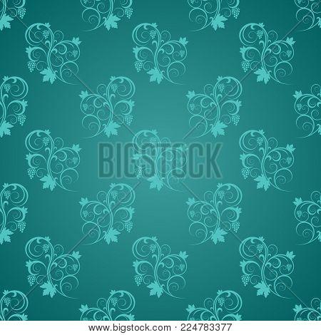 Tiffany Light blue design floral nouveau on light and dark shades of jade ornamental swirl background