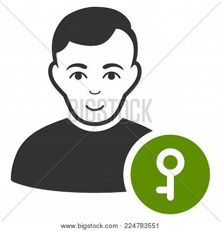 User Key vector flat pictograph. Human face has smiling sentiment.