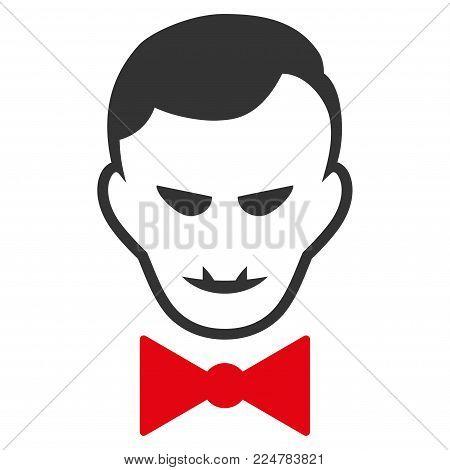 Vampire vector flat pictograph. Human face has glad sentiment.