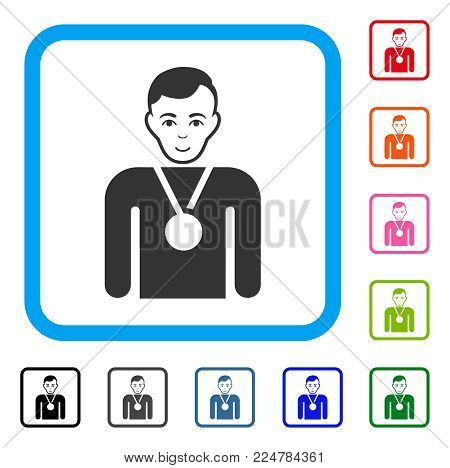 Enjoy Champion vector pictograph. Person face has happy expression. Black, gray, green, blue, red, pink color versions of champion symbol inside a rounded square.