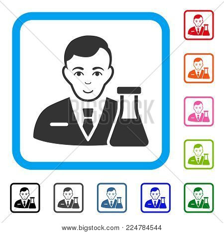Happy Chemistry Man vector pictograph. Human face has gladness expression. Black, grey, green, blue, red, pink color versions of chemistry man symbol inside a rounded rectangle.