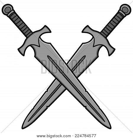 Crossed Broadswords Illustration - A vector cartoon illustration of a couple of Crossed Broadswords.