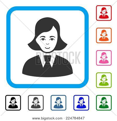 Gladness Clerk Lady vector pictograph. Human face has glad expression. Black, gray, green, blue, red, pink color versions of clerk lady symbol inside a rounded rectangle.