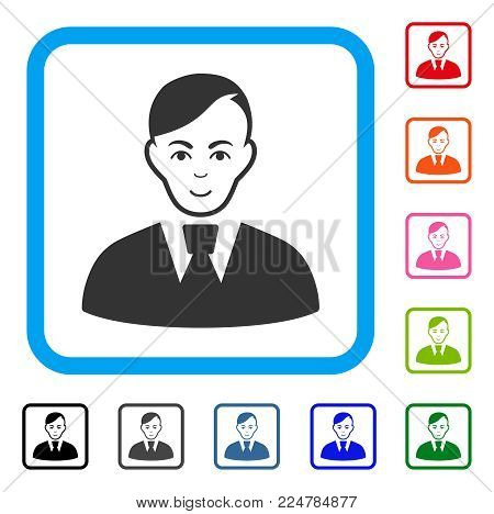 Joyful Clerk vector pictograph. Person face has glad expression. Black, grey, green, blue, red, orange color additional versions of clerk symbol inside a rounded square.