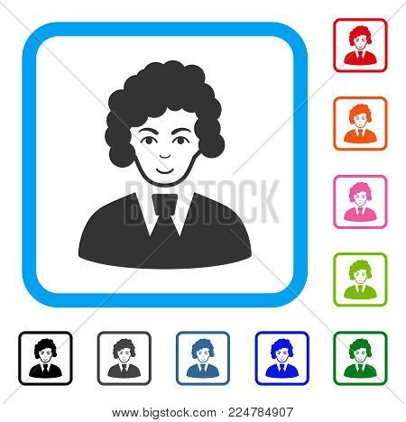 Gladness Clerk Woman vector pictogram. Person face has positive emotions. Black, gray, green, blue, red, orange color variants of clerk woman symbol in a rounded rectangle.