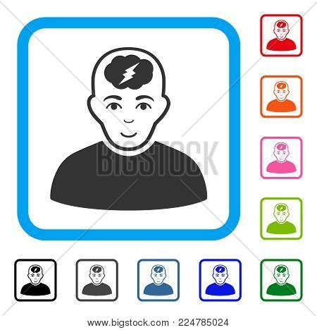 Joy Clever Boy vector pictograph. Person face has gladness mood. Black, grey, green, blue, red, orange color variants of clever boy symbol in a rounded square.