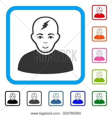 Joy Clever Boy vector pictograph. Person face has happy expression. Black, gray, green, blue, red, pink color versions of clever boy symbol inside a rounded frame.