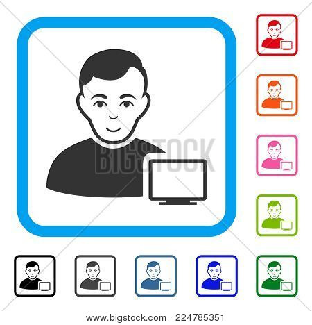 Gladness Computer Administrator vector pictogram. Person face has joy emotion. Black, gray, green, blue, red, orange color versions of computer administrator symbol in a rounded squared frame. poster