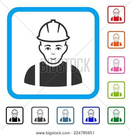 Joy Contractor vector pictogram. Human face has smiling sentiment. Black, grey, green, blue, red, pink color versions of contractor symbol in a rounded frame.