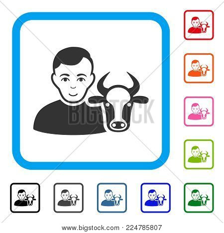 Joy Cow Farmer vector pictogram. Human face has glad emotion. Black, gray, green, blue, red, pink color variants of cow farmer symbol in a rounded rectangle.