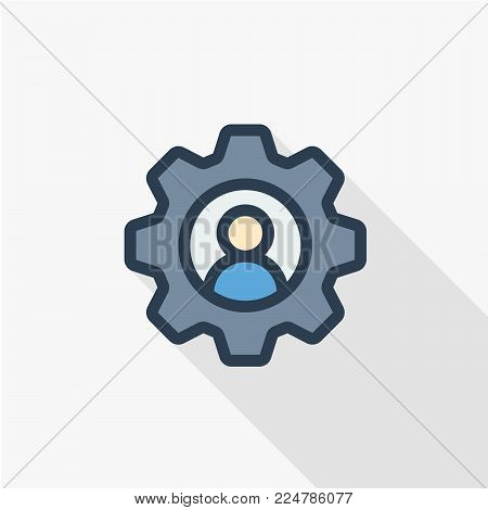 recruitment, resume search, job, selecting staff thin line flat icon. Linear vector illustration. Pictogram isolated on white background. Colorful long shadow design.