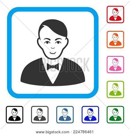 Glad Dealer vector icon. Human face has joy sentiment. Black, gray, green, blue, red, orange color versions of dealer symbol inside a rounded square.