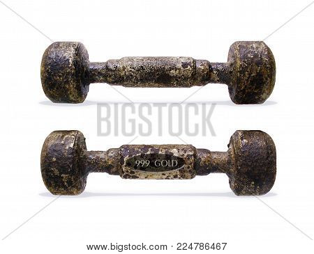 Two antique cast-iron retro dumbbells with traces of old white paint. Dumbbell with a humorous hallmark of a gold sample 999. Isolated on a white background.3d illustration